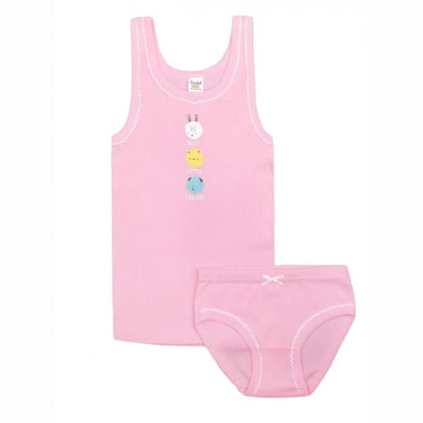 Комплект для девочки, нежно-розовый(зверята), К 1064