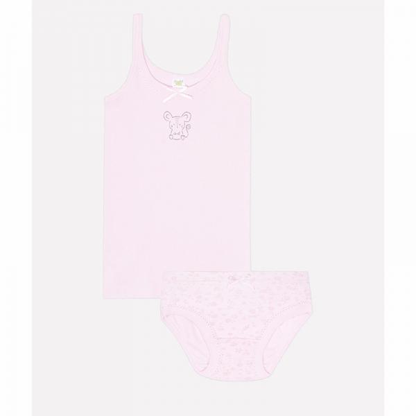 Комплект для девочки, неж.розовый+цветочный луг, К 1111
