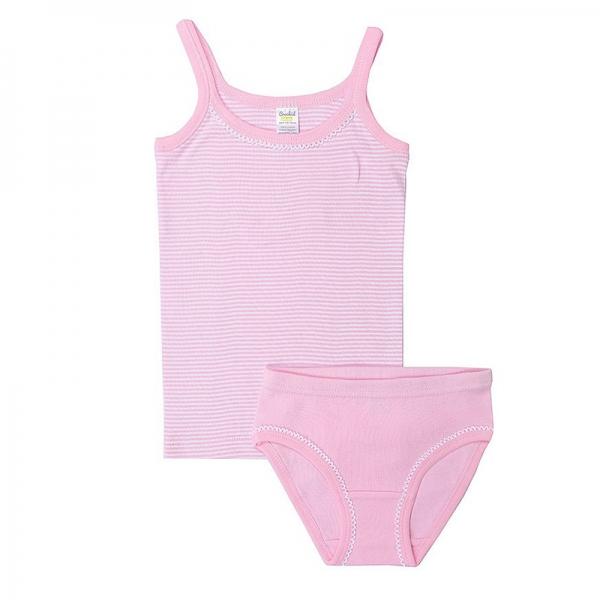 Комплект для девочки, полоска+неж.розовый, К 1111