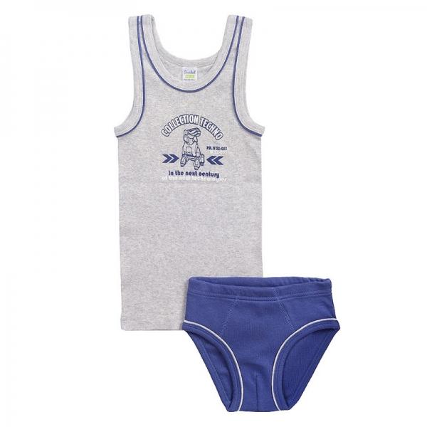 Комплект для мальчика, серо-голуб.меланж+джинсовый, К 1094
