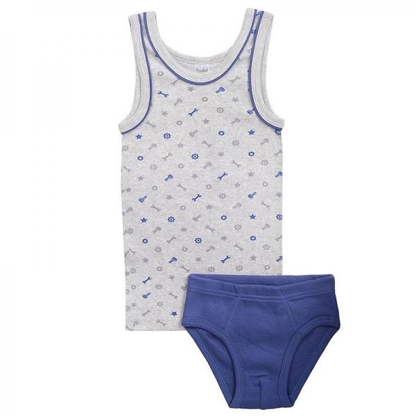 Комплект для мальчика, техно на меланже+джинсовый, К 1100