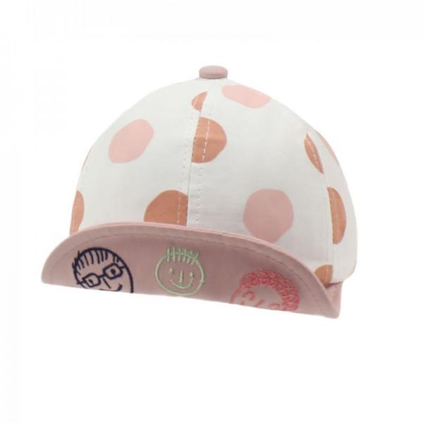 Бейсболка для девочки, горох розовый, АРТ.30024