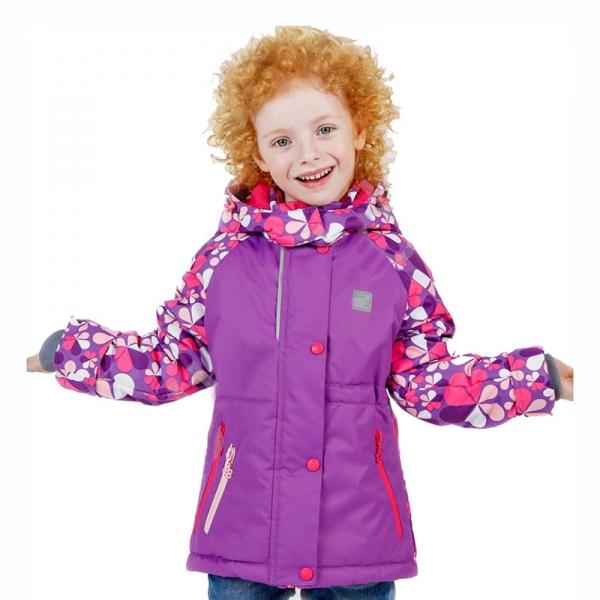 Куртка для девочки Фиерия серо-розовый принт рост