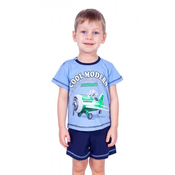 Комплект (джемпер+шорты), т.синий+голубой,Н001-5907
