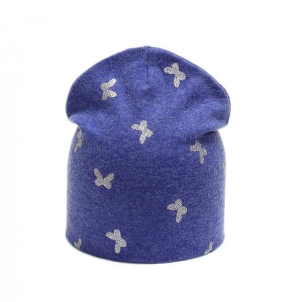 Шапка для девочки, синяя, Арт. 79131