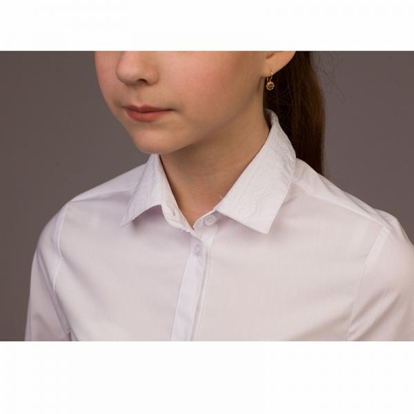 Блузка для девочек, длинный рукав, белая, B44-901 (6112)