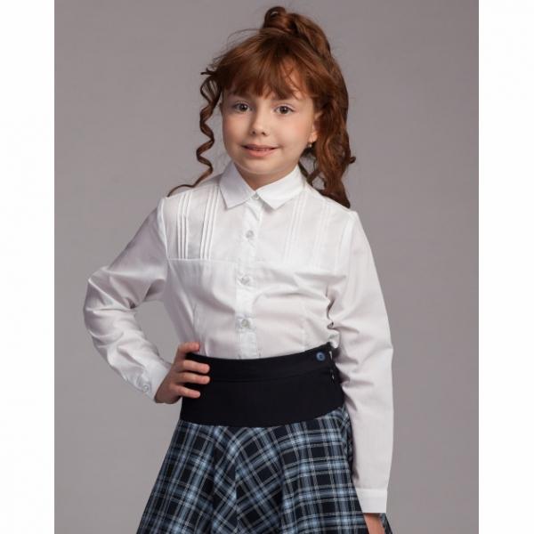 Блузка для девочек длинный рукав, белый, 6122 В13-901d