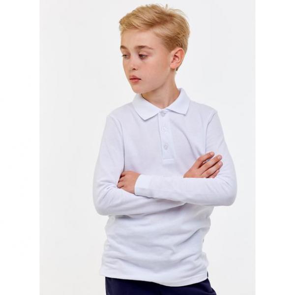 Рубашка-поло для мальчика, белый, 1S6-013-191