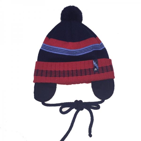 Шапка для мальчика,синий с красной полоской , 1959 Piotrus