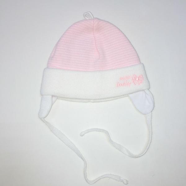 Шапка для девочки, белый в розовую полоску, Ku 454