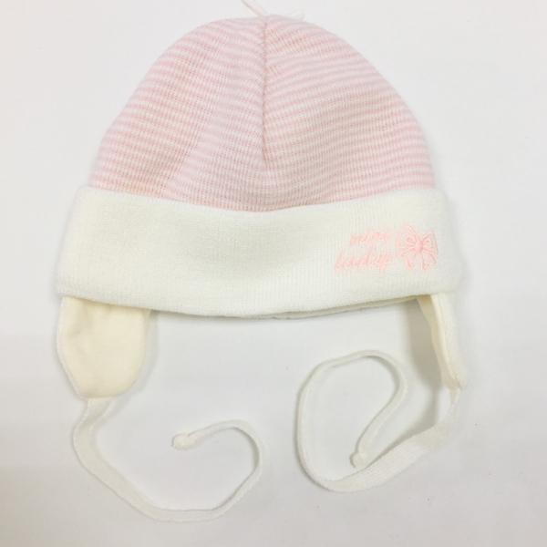 Шапка для девочки, молочная в пудровую полоску, Ku 454