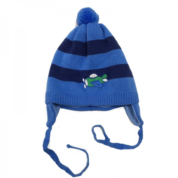 Шапка для мальчика, синий, Ku397