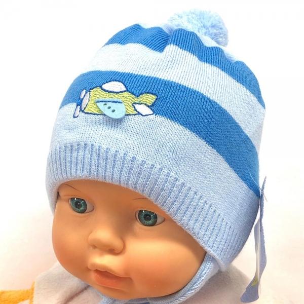 Шапка для мальчика, голубой, Ku397