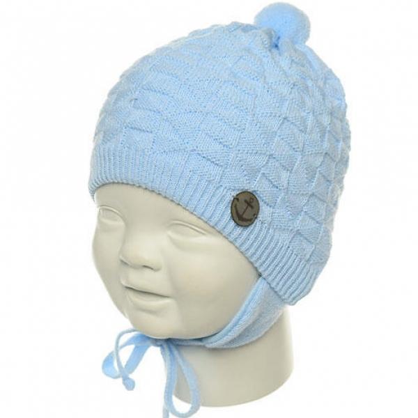 Шапка для девочки,  голубой, N154