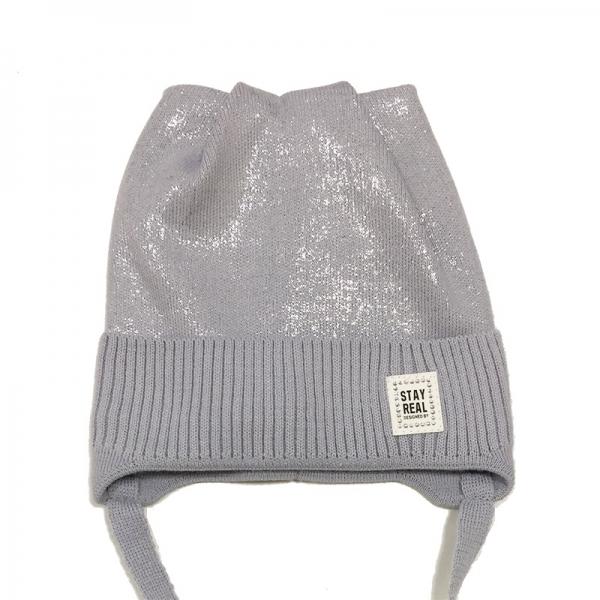 Шапка для девочки,  серый, 20106