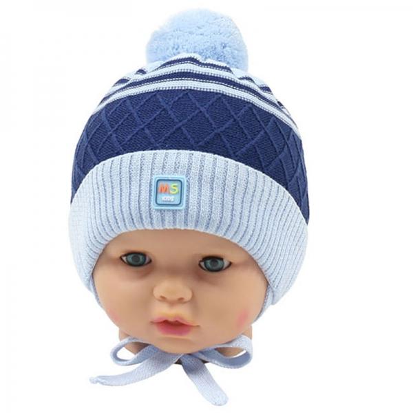 Шапка для мальчика,  голубой-синий, 2012