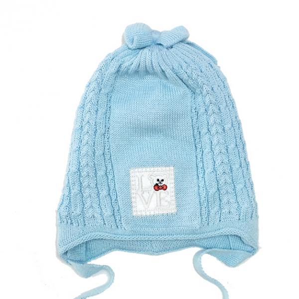 Шапка для девочки, голубой, Арт. 2052