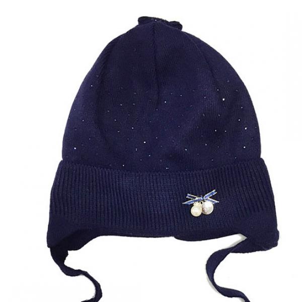 Шапка для девочки, синий, Арт. 29116