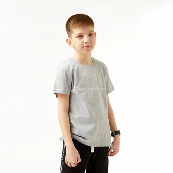 Футболка детская, цвет серый меланж с принтом, BF 405-173