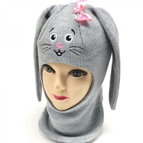 Шлем для девочки модель Зайчик, серый