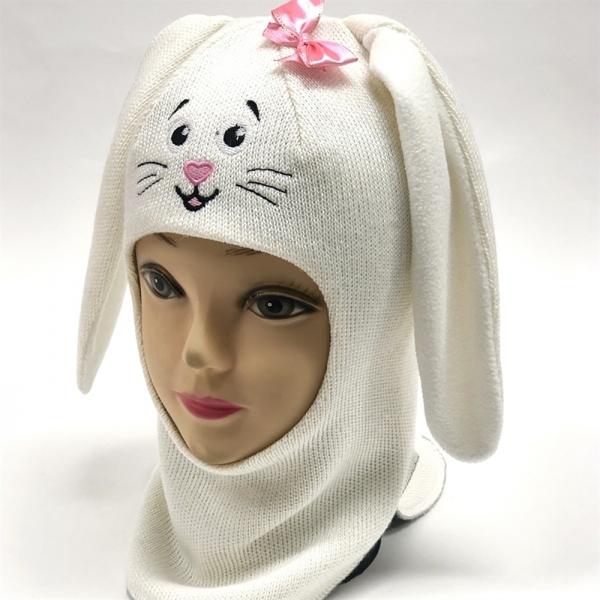 Шлем для девочки модель Зайчик, белый