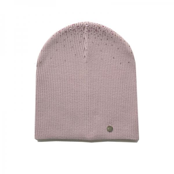 шапка Алена двойная вязка; пудра