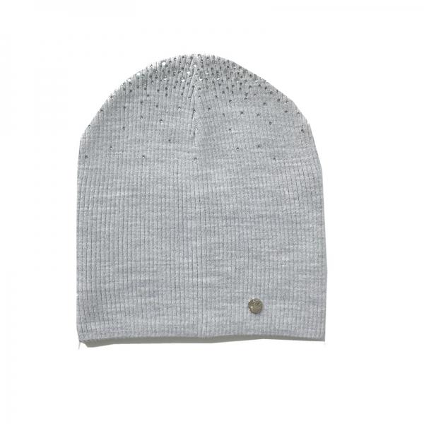 шапка Алена двойная вязка; св.серый