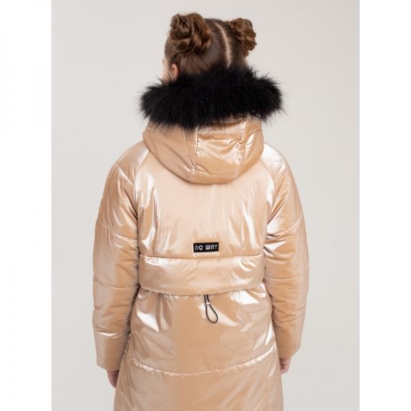"442-22з-1 Пальто для девочки ""Глория"" золотистый беж"