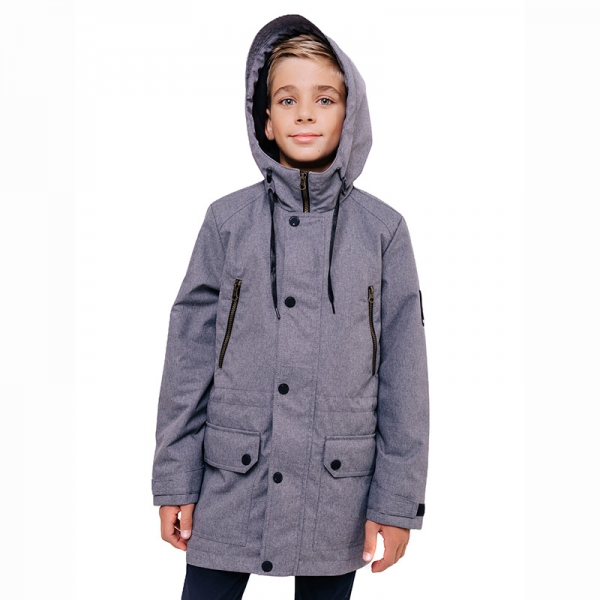 """356-21в-1 Куртка для мальчика """"Том"""" серый меланж"""