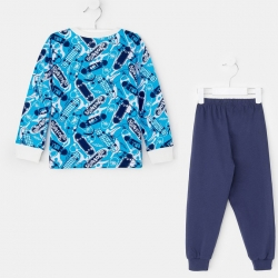 Пижама для мальчика, голубой/т.синий, 9288