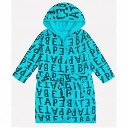 Халат для мальчика, серые буквы на сочной бирюзе, К 5483