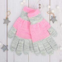 """Перчатки двойные для девочки, """"Антик"""", цвет розовый/серый 3с239"""