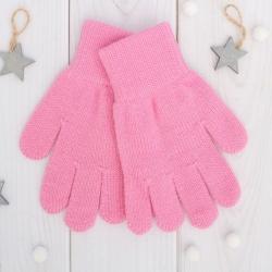 Перчатки одинарные для девочки, цвет розовый 6с177