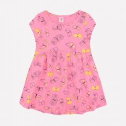 Платье для девочки, клубничное суфле, бабочки, К 5515