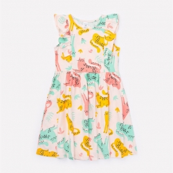 Платье для девочки, бледно-персиковый,леопарды к1262, К5690