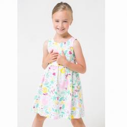 Платье для девочки, К 5589/белый,слоники в цветах к1260