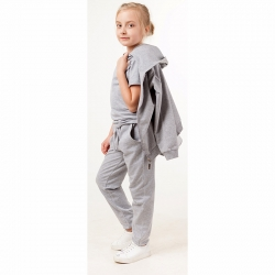 Костюм спортивный для девочки, серый, 00361_BAT