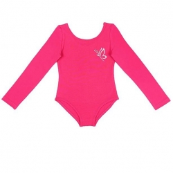 Купальник гимнастический для девочки с длинными рукавами, цвет фуксия, CAJ 4122
