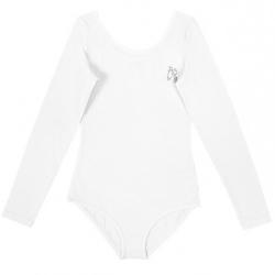 Купальник гимнастический для девочки с длинными рукавами, цвет белый, CAJ 4122