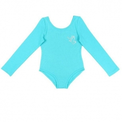 Купальник гимнастический для девочки с длинными рукавами, цвет бирюзовый, CAJ 4122