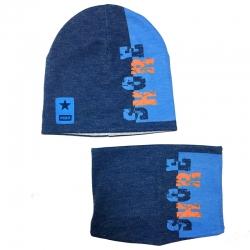 Комплект (Шапка дв.трикотаж + снуд),  голубой , 31537  ambra