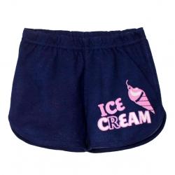 Шорты для девочки, Синий джинс, Мороженое,2141-038