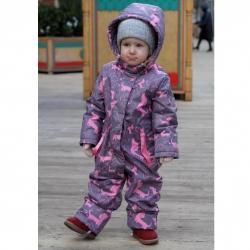 Комбинезон для девочки, серо-розовый, ТАКСА КК17-10