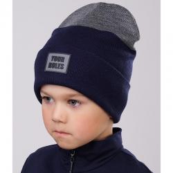 Шапка детская, т.синий-меланж серый, 702808ак