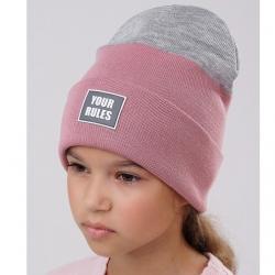Шапка детская, розовый-серый, 702808ак