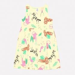 Платье для дев, К 5589/бледный лимон,звери саванны к1246