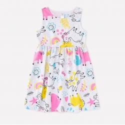 Платье для дев, К 5589/св.серый меланж,единороги и цветы к1268