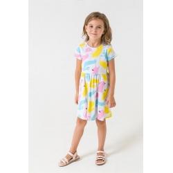Платье для дев, К 5644/св.серый меланж,разноцветные собаки к1264