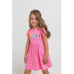 Платье для дев, К 5685/клубничное суфле,белые камушки к1264