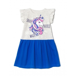 Платье 2141-176, Единорог мел синий,